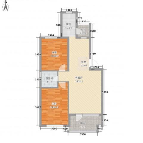 开成领地2室1厅1卫0厨90.00㎡户型图