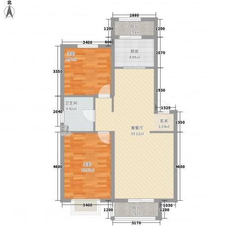 德华花苑2室1厅1卫1厨102.00㎡户型图