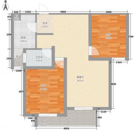 翠园世家2室1厅1卫1厨90.00㎡户型图