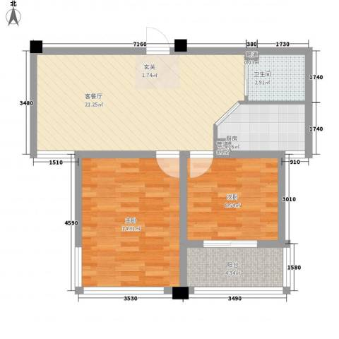 水岸人家2室1厅1卫1厨64.00㎡户型图