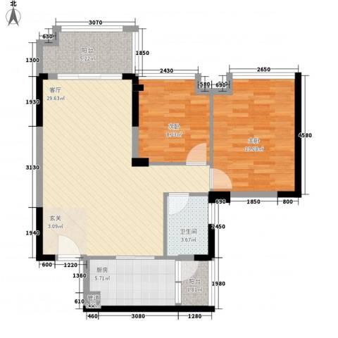 明大汇乐园2室1厅1卫1厨96.00㎡户型图