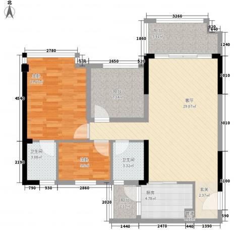 明大汇乐园2室1厅2卫1厨107.00㎡户型图