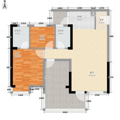 明大汇乐园2室1厅2卫0厨109.00㎡户型图