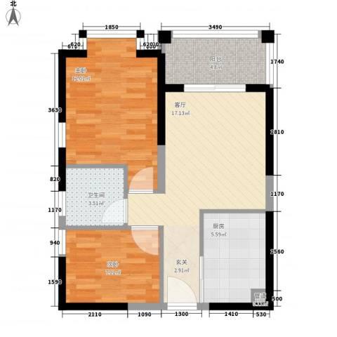 凤凰水城凤凰湾2室1厅1卫1厨70.00㎡户型图