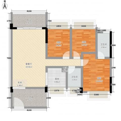 大翼龙苑3室1厅2卫1厨104.00㎡户型图