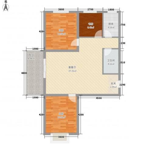 裕峰花园3室1厅1卫1厨116.00㎡户型图