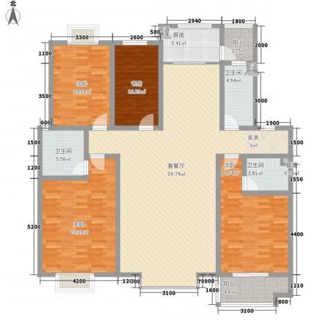 智雅茗苑4室1厅3卫1厨183.00㎡户型图