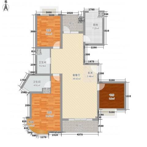 卡斯摩小区3室1厅2卫1厨148.00㎡户型图