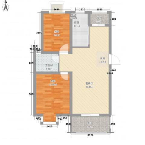 爱涛天逸园2室1厅1卫1厨86.00㎡户型图