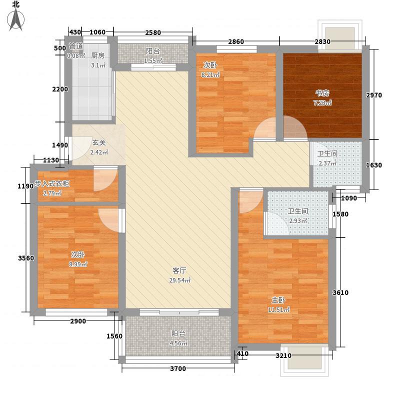 德院上城120.00㎡一期C花园洋房1F平层图户型