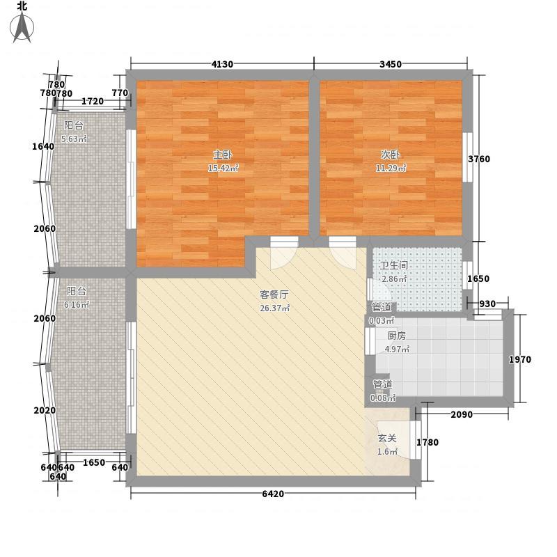 华兰佳园106.67㎡华兰佳园户型图62室1厅1卫1厨户型2室1厅1卫1厨