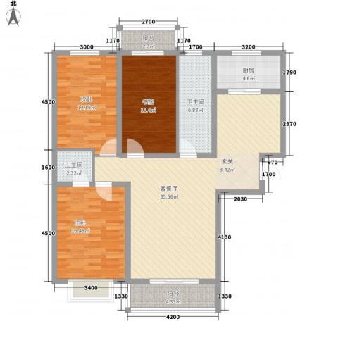 东苑小区3室1厅2卫1厨134.00㎡户型图