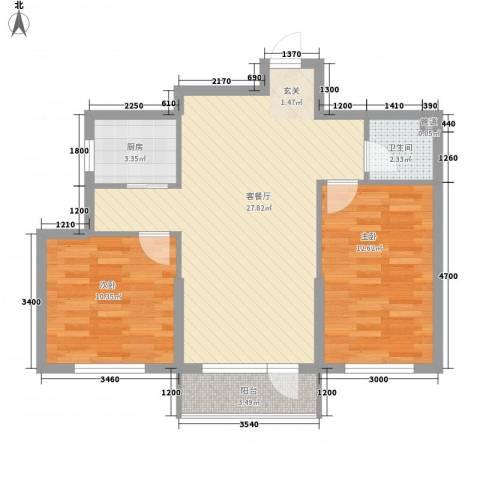 波菲蓝岛项目2室1厅1卫1厨85.00㎡户型图