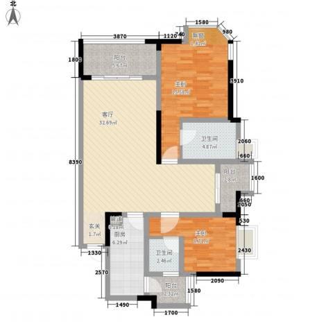 融创御锦2室1厅2卫1厨119.00㎡户型图