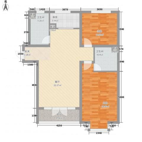 柏树花园2室1厅2卫1厨115.00㎡户型图