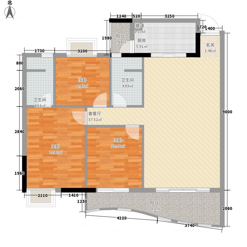 金狮华庭119.77㎡金狮华庭户型图3房2厅户型图3室2厅2卫1厨户型3室2厅2卫1厨