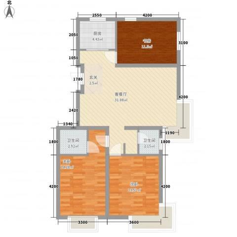 恒祥・龙泽城3室1厅2卫1厨113.00㎡户型图