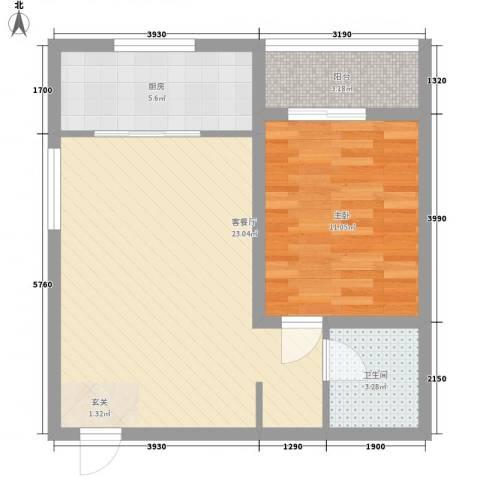 百合苑住宅楼1室1厅1卫1厨56.00㎡户型图
