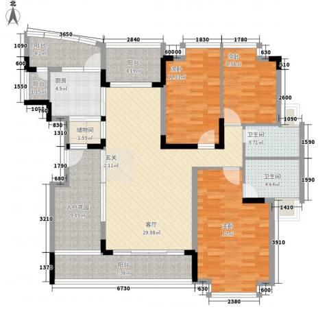怡景丽苑3室1厅2卫1厨156.00㎡户型图