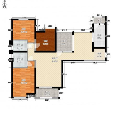 百合苑住宅楼3室1厅2卫1厨110.00㎡户型图