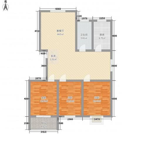 富通・香树湾3室1厅1卫1厨138.00㎡户型图