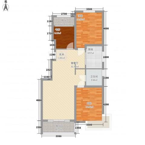恒祥・龙泽城3室1厅1卫1厨111.00㎡户型图