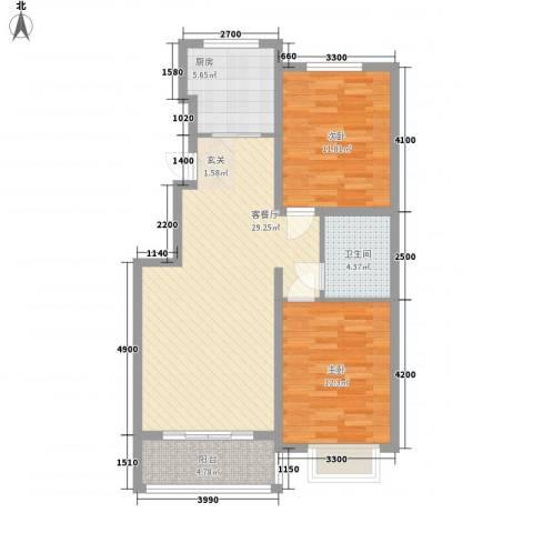 恒祥・龙泽城2室1厅1卫1厨97.00㎡户型图