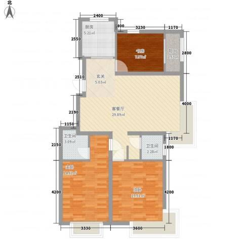 恒祥・龙泽城3室1厅2卫1厨112.00㎡户型图
