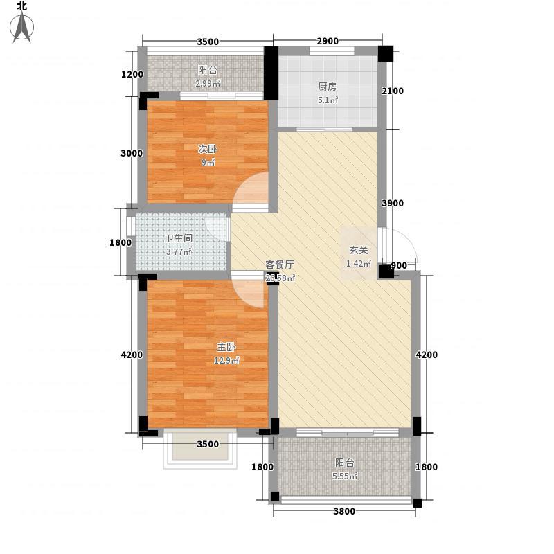 水岸菁华87.87㎡3#楼7户型2室2厅1卫1厨