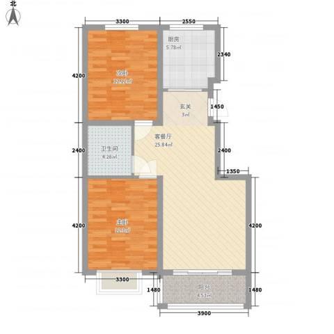 恒祥・龙泽城2室1厅1卫1厨92.00㎡户型图