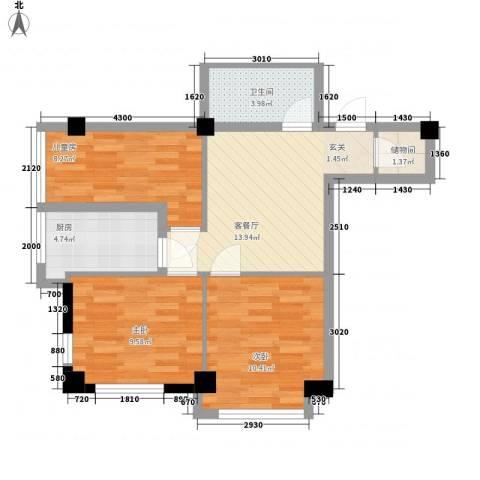 东城左岸3室1厅1卫1厨91.00㎡户型图