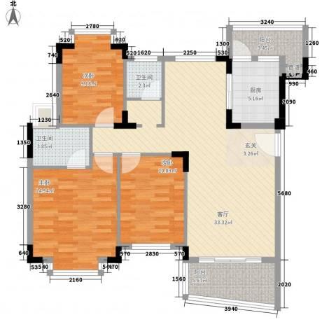 怡景丽苑3室1厅2卫1厨126.00㎡户型图
