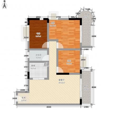 香港街3室1厅1卫1厨77.87㎡户型图