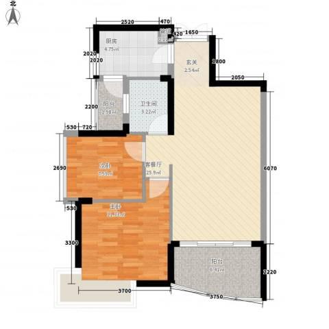 锦绣江南三期2室1厅1卫1厨88.00㎡户型图