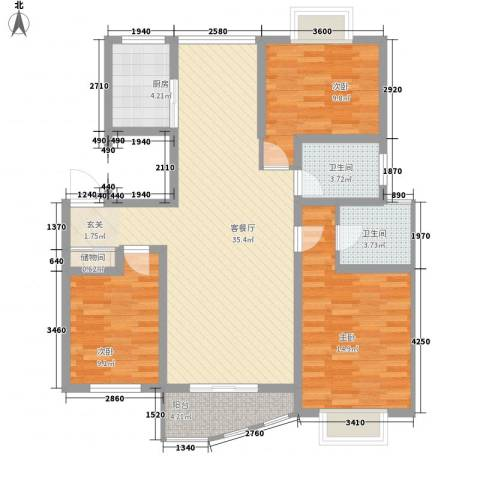 万马滨河城3室1厅2卫1厨123.00㎡户型图