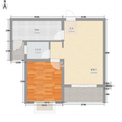 万马滨河城1室1厅1卫1厨73.00㎡户型图