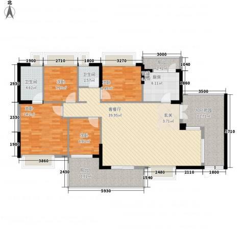 锦绣江南三期4室1厅2卫1厨162.00㎡户型图