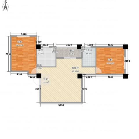 享域滨江2室1厅1卫1厨110.00㎡户型图