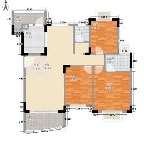 怡景丽苑3室1厅2卫1厨127.00㎡户型图