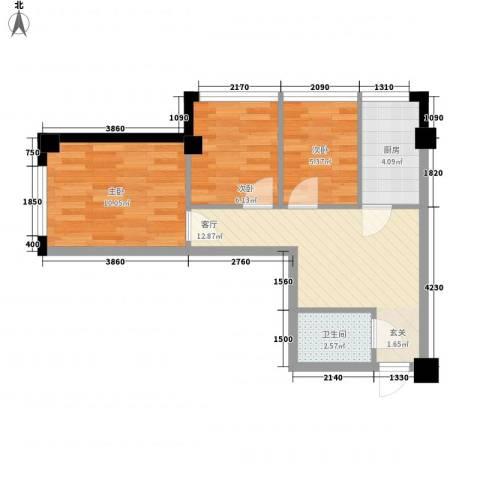东城左岸3室1厅1卫1厨68.00㎡户型图