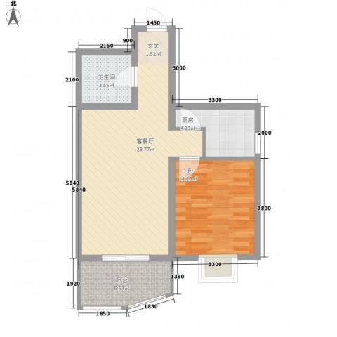 义井佳园琳龙苑1室1厅1卫1厨68.00㎡户型图