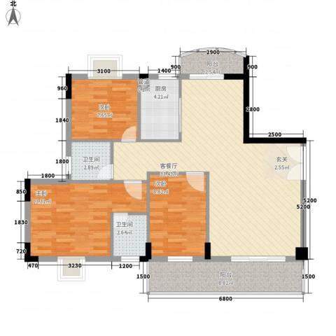 大箕山家园3室1厅2卫1厨84.40㎡户型图