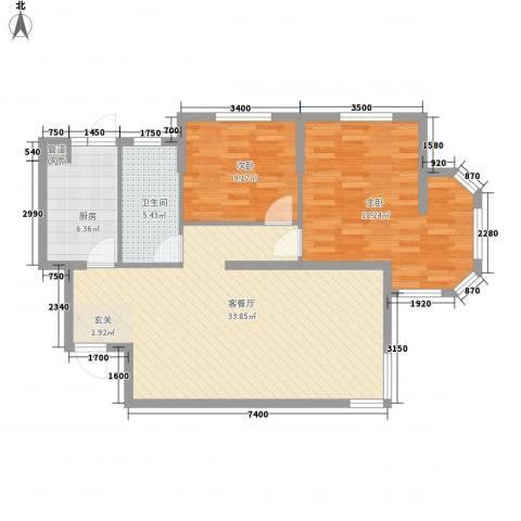 波菲蓝岛项目2室1厅1卫1厨103.00㎡户型图