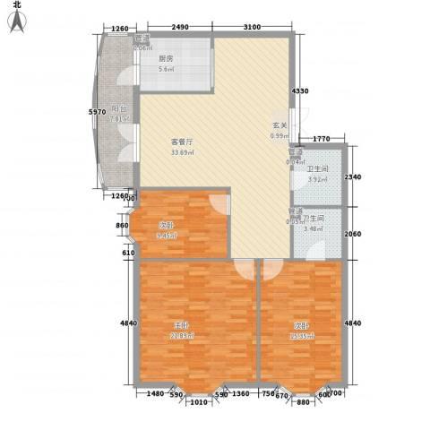 铭钻家园3室1厅2卫1厨104.00㎡户型图