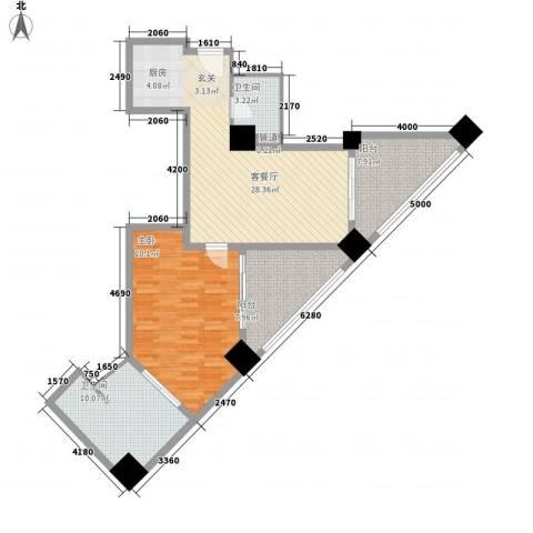 国际公寓1室1厅2卫0厨77.84㎡户型图