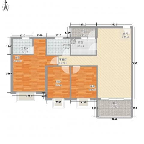 雍逸华庭3室1厅2卫1厨114.00㎡户型图
