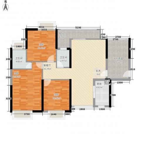 锦龙又一城二期君誉3室1厅2卫1厨122.00㎡户型图