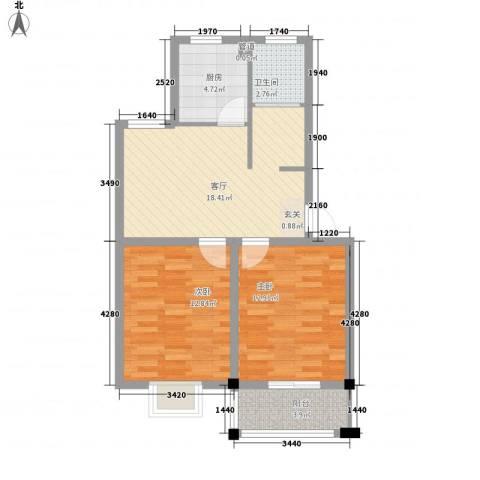 闽泰城市花园2室1厅1卫1厨80.00㎡户型图