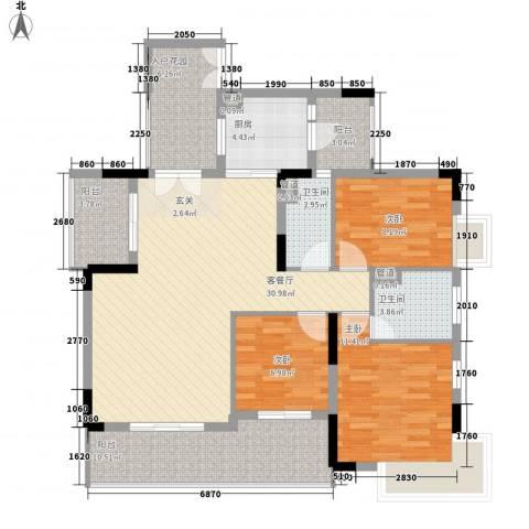 越秀逸泉韵翠3室1厅2卫1厨133.00㎡户型图