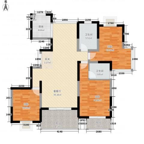 我家山水3室1厅2卫1厨144.00㎡户型图